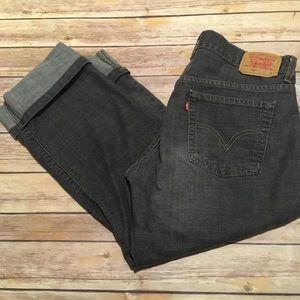 Levi's Nouveau Straight Cuffed Black Short Jeans